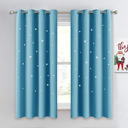 NICETOWN Twinkle Star Curtains for Baby - Kid Sky Wonder Star Cut Out Functional Room Darkening Curtains for Baby's Nursery, 52 by 63 inches, Teal Blue, 2 Pieces