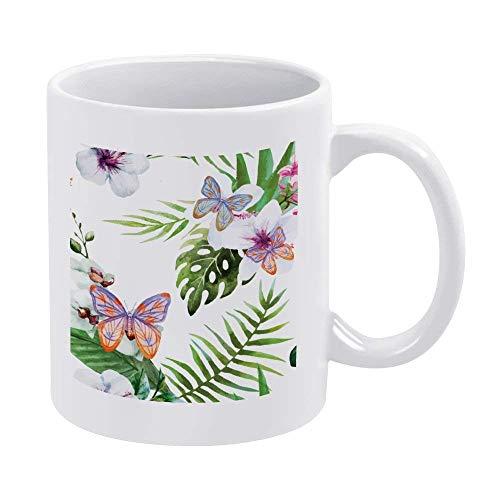 Tazza da caffè in ceramica con farfalla verde pisello, 325...