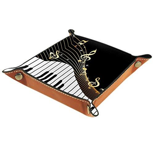 LynnsGraceland Bandeja de Cuero - Organizador - Instrumentos Musicales - Práctica Caja de Almacenamiento para Carteras,Relojes,Llaves,Monedas,Teléfonos Celulares y Equipos de Oficina