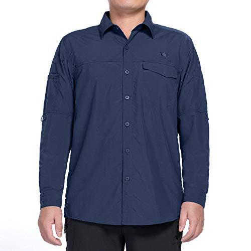 CAMEL CROWN Herren Langarmshirt Schnelltrocknend UV Schutz Atmungsaktiv Langarm Hemd Männer Outdoor Einfarbige Knöpfen Taschen Freizeithem (Neu Dunkelblau, XL)