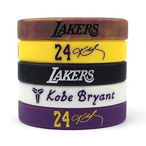 Basketball Authentic Kobe Inspirational Signature Motivation Wristbands Sport Silicone Bracelet (5 Pack)