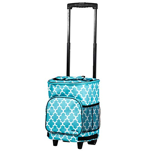 dbest products Ultra Compact Cooler Smart Cart, Moroccan Tile Insulated Collapsible Rolling Tailgate BBQ Beach Summer