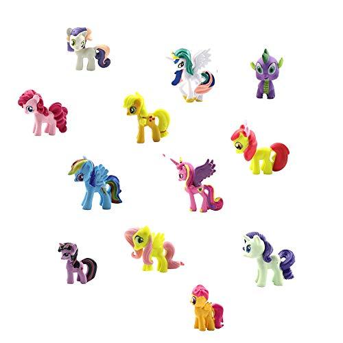 Smileh Unicornio Cake Topper Figuras Unicornio Figuras Decoración Para Tarta Pony Mini Figuras Set 12 Piezas