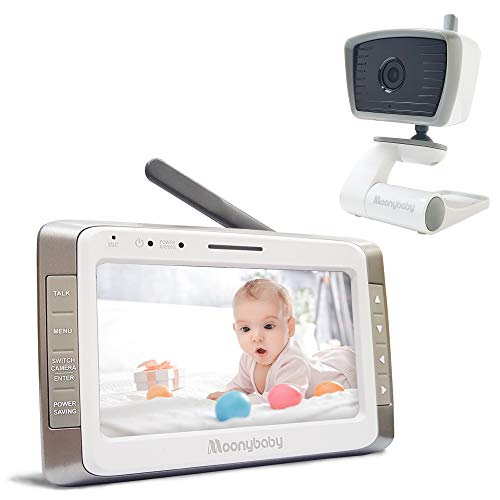 Moonybaby Trust 50 Video Baby Monitor with 5 Inches Large Screen, Long Battery Life, Long Range, Non-WiFi, Auto Night Vision, Talk Back, Auto Scan, Lullabies, Power Saving/Voice Activation and Zoom in