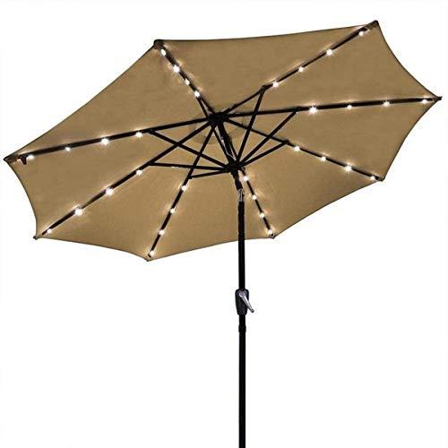New Sun Sonnenschirm Regenschirm Garten Sonnenschirme Solar Light Umbrella Market Patio LED-Sonnenschirme im Freien Selbstaufladend LED Gartenschirm 3 M (Größe: Kaffee...