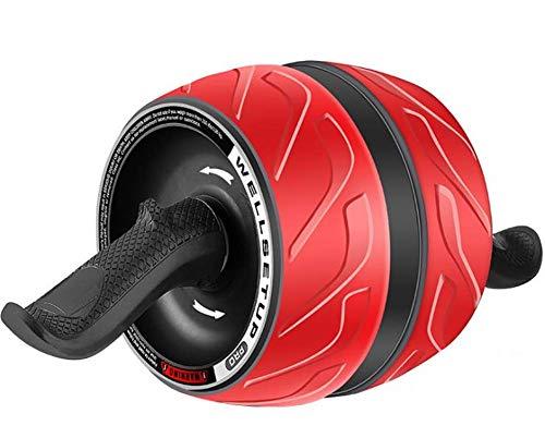 WJSWHW Bauch-Roller, eingebauter Feder-Automatik-Rebound mit ergonomischem abnehmbarem Griff, rutschfest, mehrlagig, gummiert, für Damen und Herren, Rot