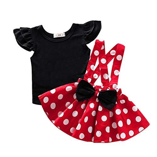 LEXUPE Säugling Kinder Baby Mädchen Soild T-Shirt Top + Dot Print Bogen Rock Outfits Set Kleidung(Rot,80)