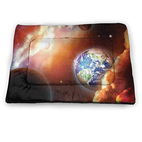 "prunushome Dog Beds Crate Pad Mat Space Deluxe Pet Beds and Shock Mat Dust Cloud Nebula Stars in Solar System Scene with Planet Earth Pluto and Neptune for Indoor/Outdoor Use Orange Blue (31""x21"")"