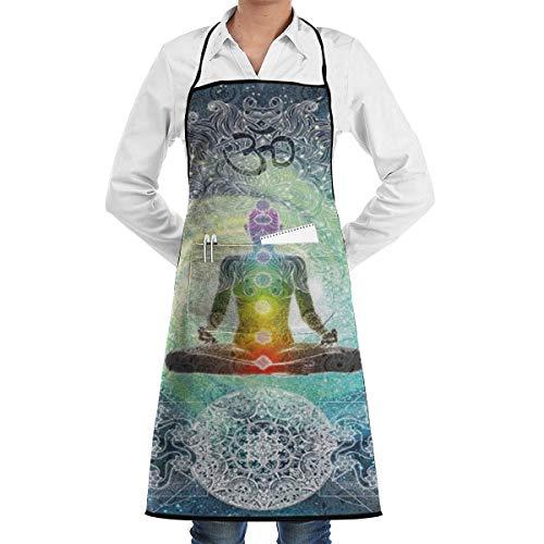 Delantal de chef de cocina de poliéster suave con diseño de yoga, estilo hippie, con bolsillo, 20.5 x 28.4 pulgadas para hombres, horneado, barbacoa, parrilla, restaurante, floristería, delantales