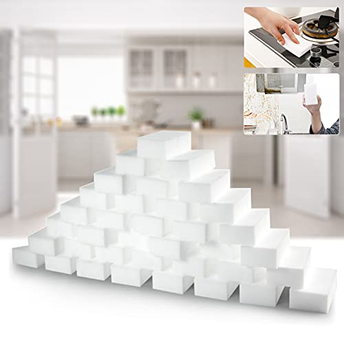 Magic Cleaning Sponge Eraser, 50Pack Extra Thick & Long Lasting Melamine Sponge Foam, Kitchen Dish Cleaning Sponges Scrubber, Household Cleaner for Bathtub, Floor, Baseboard, Bathroom, Wall, Shoes