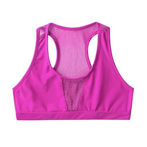 JEATHA Mädchen Sport BH Tanz Top Crop Top Racerback Mesh Tanzshirt Bauchfrei Oberteil für Yoga Gymnastik Workout Rosa Rot 146-152