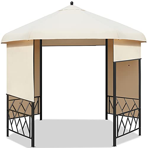 AVAWING 12' Hexagonal Gazebo, Outdoor Canopy Gazebo Roof Patio Gazebo Steel Frame Pavilion with Lift Shade Curtains for Garden,Patio,Party, Beige
