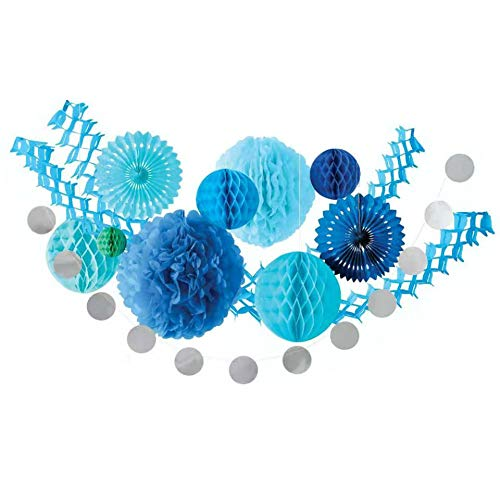 Party Decorations Kit Happy Birthday Decorations Garlands Bunting Paper Fan Flower Pom Poms for Wedding Décor Birthday Decorations Event Celebration Hanging Décor (Blue)