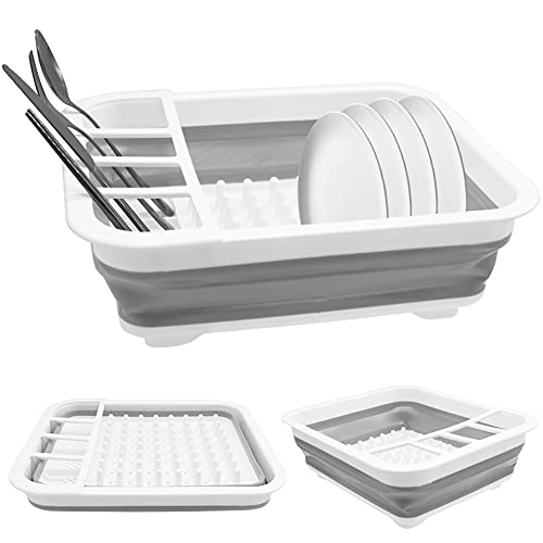 Collapsible Dish Drying Rack,Portable Dish Drainer Dinnerware Organizer,Foldable Drying Rack Set,Gray Space Saving Folding Dish for Kitchen,Camper,Travel Trailer