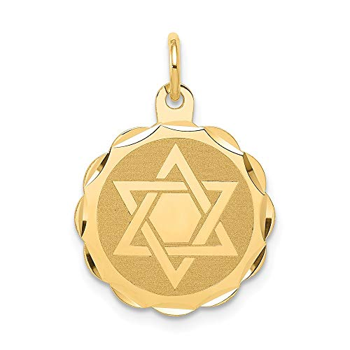 14k Yellow Gold Solid Jewish Jewelry Star Of David Disc Pendant Charm Necklace Religious Judaica Fine Jewelry For Women Gifts For Her