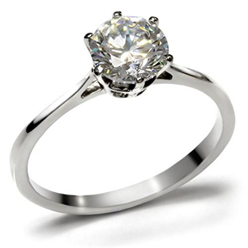 Ah! Jewellery Never Tarnish 2.30ct Solitaire Prong Set Simulated Diamond Ring, Stamped 316