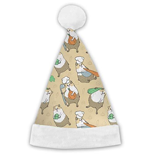 TYUO Sombreros de Pap Noel de Navidad, conejillo de indias, verduras, linda zanahoria, puos blancos, de felpa, sombrero de fiesta para adultos y nios