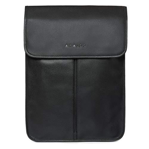 AWALDO Hemdentasche aus Leder I Für den Transport von Hemden I Business Hemdtasche Organizer mit Falthilfe (Schwarz)
