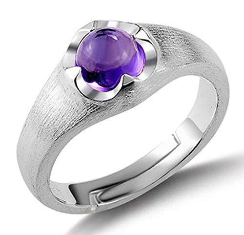 RXSHOUSH Anillo para mujer, plata S925, amatista natural, anillo abierto para parejas, regalo de novia, moda