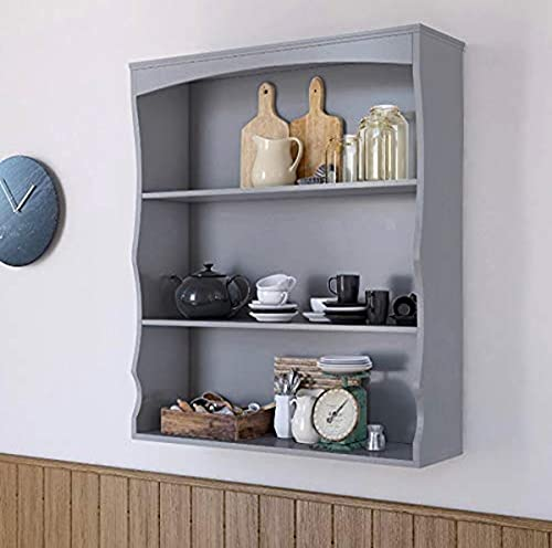 Home Source Grey Wall Mounted Shelves Painted 3 Book Shelves Ideal for Kids Bedroom Kitchen