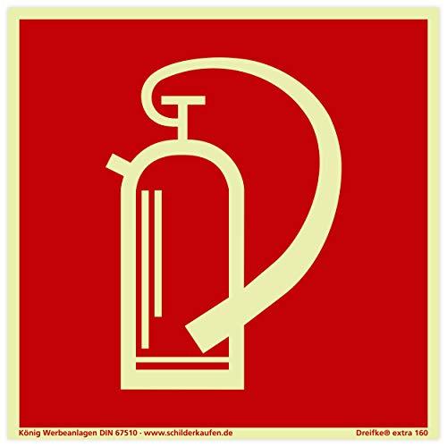 Schild Feuerlöscher | extra langnachleuchtend | PVC selbstklebend 148x148mm | gemäß BGV A8 F05 | DIN 67510 (Brandschutzzeichen) Dreifke extra 160