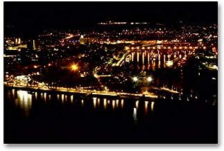 Lienzo de gran calidad, 90 cm x 60 cm, horizontal, Koblenz, la esquina alemana en la noche, imagen sobre bastidor, imagen sobre lienzo auténtico, impresión sobre lienzo (CALVENDO Orte);CALVENDO Orte