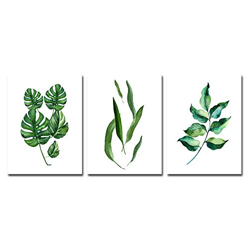 Pyradecor Large Green Leaves Canvas Prints Wall Art Abstract Floral Pictures Paintings for Living Room Bedroom Home Decorations 3 Piece Modern Stretched and Framed Grace Watercolor Giclee Artwork L