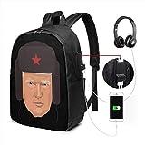 Donald Trump mit traditioneller russischer Uschanka Hut Laptop Rucksack 17 Zoll mit Ladeanschluss, für Frauen Männer Mode Schultasche