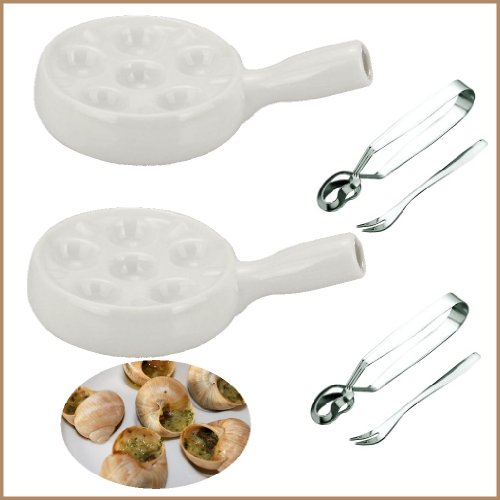 Snail, Escargot, Dining Set for TWO people consisting of two 6 hole vitrified porcelain snail dishes / plates with handles and two stainless steel Snail Tongs and Snail Forks.