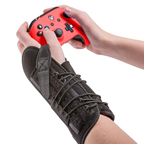 BraceAbility Gaming Wrist Brace - Video Game Support Guard for Console, Laptop, or PC Computer Keyboard and Mouse Gamer with Repetitive Strain Injury (RSI) Pain or Carpal Tunnel Syndrome (Right Hand)