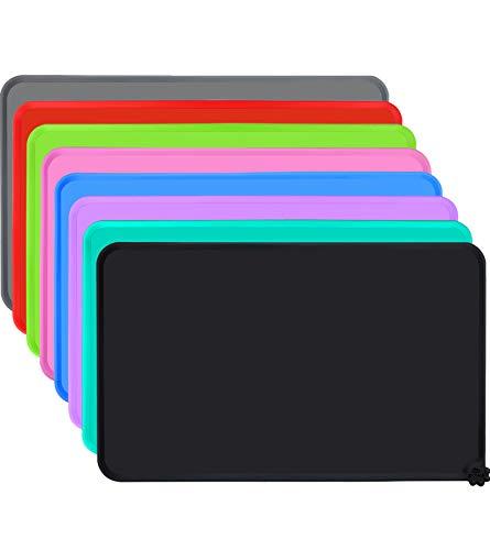 Joytale Napfunterlage für Hund und Katze, Silikon rutschfeste Hundenapf Matte für Katzen und Hunde, Wasserdicht,47 x 30cm,Schwarz