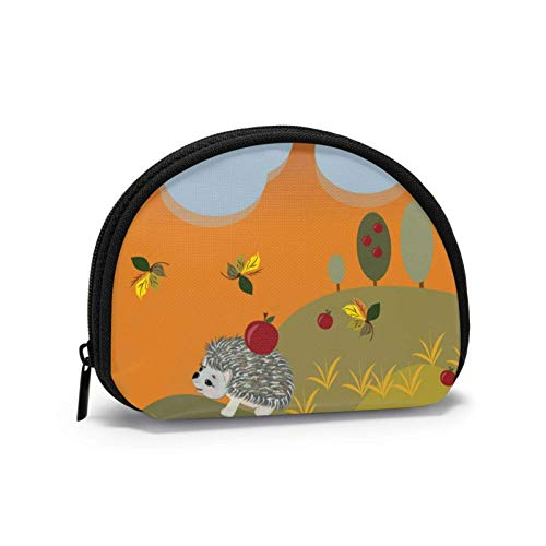 Basketball Travel Shell Cosmetics Storage Bags Coin Purse Change Wallet for Women with Zipper-AutumnHedgehogIllustrations-OneSize