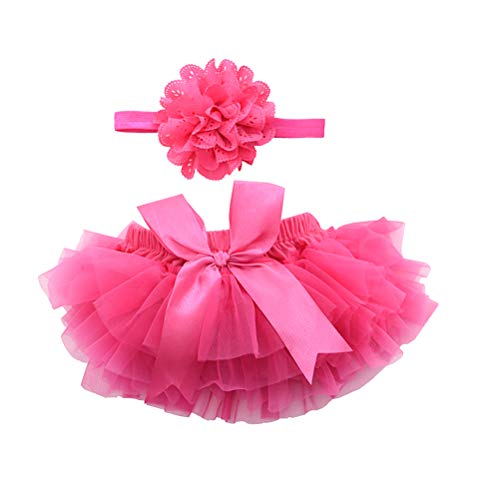 BESTOYARD Best of Baby Rock Tutu Costume de Nouveau-né pour bébé avec Fleurs et Bandeau pour Fille Rose, Rosa, Medium