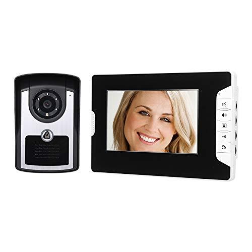 KKmoon Videoportero con Monitor de 7 Pulgadas Cámara HD Videoportero Teléfono Timbre Sistema de Intercomunicación Visión Nocturna IR Cámara de Timbre con Cable