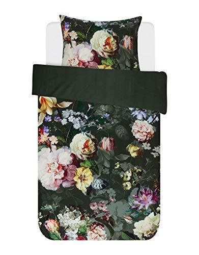 ESSENZA Bettwäsche Fleur Blumen Pfingstrosen Tulpen Baumwollsatin Grün, 135x200 + 1x 80x80 cm