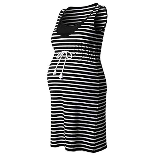 Great Price! Women Pregnant Dress - Maternity Stripe Tunic Breastfeeding Dress
