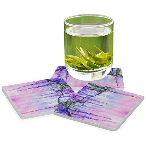 PANILUR Blume Aquarell Blumen abstrakte Efeu romantischen Baum nebligen vibrierenden trüben Lebensraum Kunstwerk,Untersetzer Saugfähige Keramik,für Tassen Tisch Bar Glas(2 Packs)
