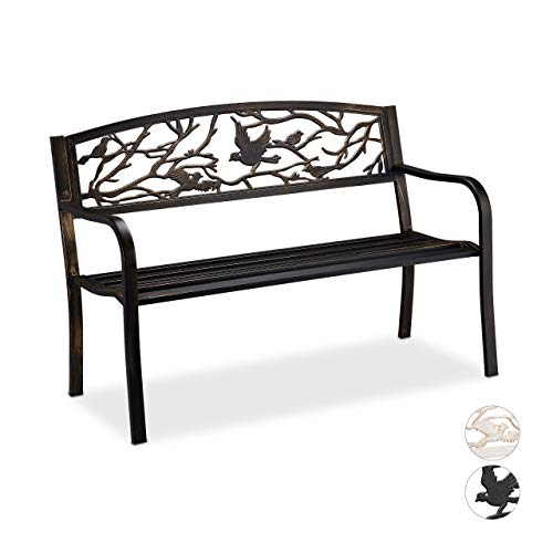 Relaxdays Gartenbank, Vögel Muster, 2-Sitzer, wetterfest, Anti-Rost-Beschichtung, Sitzbank, 87x127x57 cm, schwarz/bronze