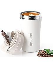 Mok met deksel en rietje, coffee-to-go-beker, deksel, milieuvriendelijk, herbruikbare koffiebeker om mee te nemen, reismok 380 ml voor warm en koud water.