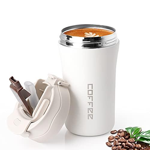 Becher Mit Deckel Und Strohhalm,Coffee to Go Becher,Deckel Umweltfreundliche Wiederverwendbare Kaffeebecher to Go,Travel Mug 13oz/380ml FüR HeißEs Und Kaltes Wasser.