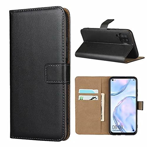 ZAORUN Funda protectora para teléfono móvil compatible con Huawei Nova 6SE/P40 Lite/Nova 7i Funda horizontal de piel con cierre magnético y soporte y ranura para tarjetas y cartera (color negro)