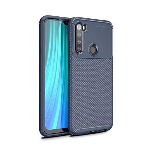 AILZH Carcasa para Funda Xiaomi redmi Note 8 TPU Silicona Suave Anti-rasguño Anti-Shock Antichoque Caso Mate Bumper Case Cover-Fibra de Carbono(Azul)