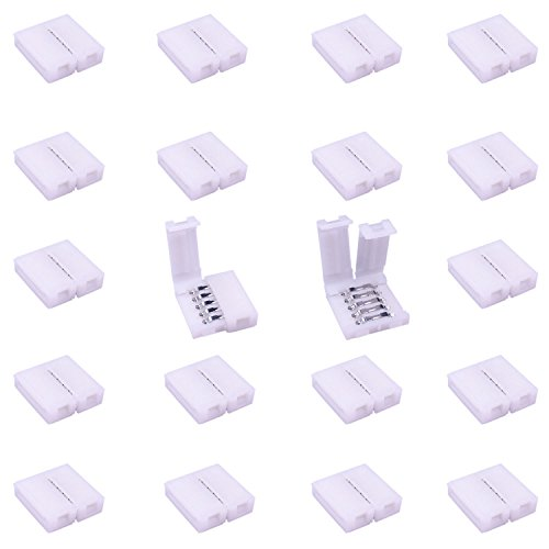 LitaElek 5 Pines LED Strip Conector 5 Conductores de Banda de LED a Tira de Adaptador Conector de Cinta LED sin Soldadura para 12mm de Ancho SMD...