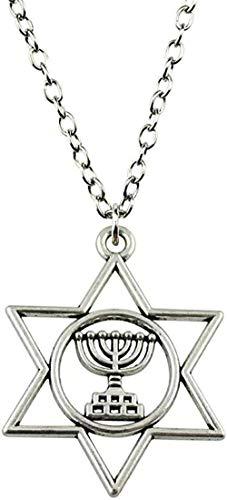 Yiffshunl Collar Colgante Collar Judaísmo Menorah Estrella de David 39X32Mm Accesorios de Cadena de Color Plata Antigua