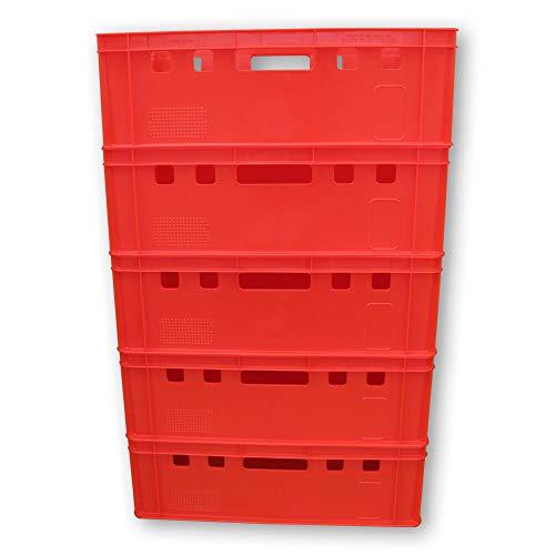 5er Set E2 Kisten 60x40x20 cm Fleischkiste Lagerkiste Metzgerkiste Eurobox rot