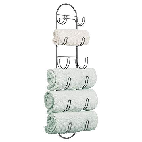 mDesign Handtuchhalter zur Wandmontage – Handtuchablage aus Metall – schickes Badzubehör – auch für das Gäste-WC geeignet – graphitfarben
