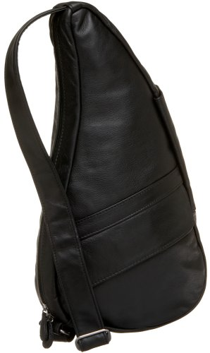 AmeriBag Small Classic Leather Healthy Back Bag, Black, Small Wide