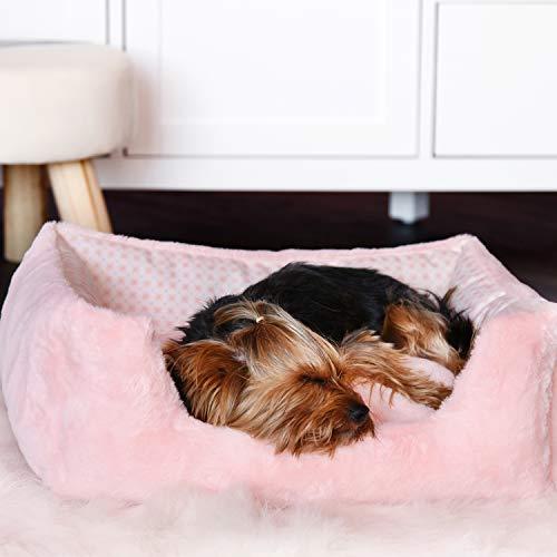 Cuccia per Animali Domestici, Letto Rettangolare per Cani di Media Taglia, Misura 55x45x20cm. con possibilità di Lavaggio in Lavatrice, Cuccia per Cani Rosa