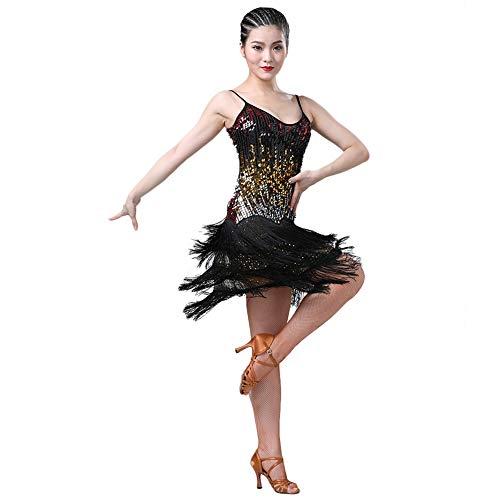 ChYoung Vestidos con Flecos de Lentejuelas para Mujer Borlas Salón de Baile...