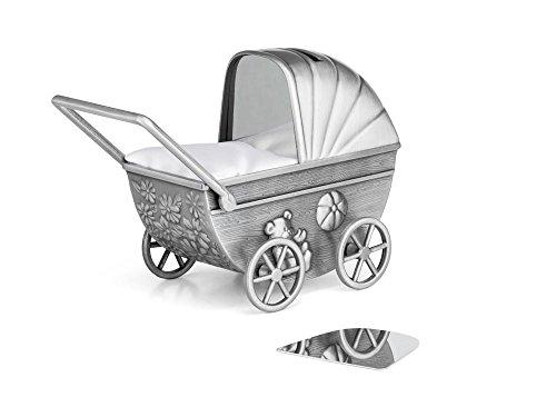 Zilverstad Spardose Kinderwagen mit Gravurplatte, matt, Zink-Legierung, Silberfarben, 7.2 x 14.2 x 10.2 cm